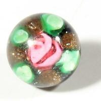 Czech antique micro lampwork pink satin floral paperweight dimi glass button 8mm