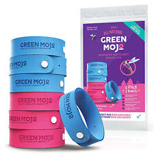 Green Mojo Natural Mosquito Repellent for Kids 3 Pink 4 Blue Bracelets DEET-Free