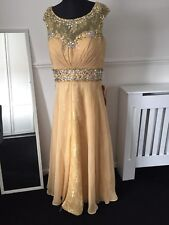 NEW LADIES/GIRLS FORMAL PETITE GOLD DRESS SPARKLE PROM WEDDING DRESS 12 BUST 38