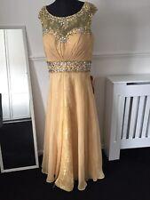 NEW LADIES/GIRLS FORMAL PETITE GOLD DRESS SPARKLE PROM WEDDING DRESS 12 BUST 38