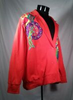 I.B. Diffusion Blazer Jacket Abstract Orange Embroidered Women's Size Large