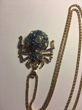Betsey Johnson Crystal & BLUE spider Pendant charm Sweater chain necklace-BJ6911