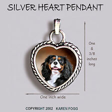 Cavalier King Charles Spaniel Tri Color - Ornate Heart Pendant Tibetan Silver