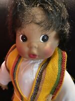 "Vintage  Doll  Rubber Face Mexican little boy Hand Painted Face 11"" Soft body"