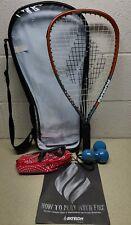EKTELON Racquetball Set Racket w/Case 900 Power Level with glasses/case 3 Balls