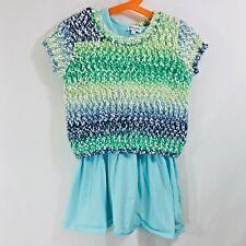 Splendid tank dress layered sweater blue green white short sleeve texture sz 5/6