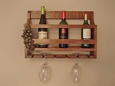 Wine rack and wine glass holder solid oak hand made in USA