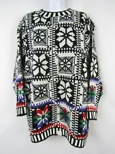 Vintage 80's Women's Teasers Sweater Geometric Print Ugly Christmas Black White