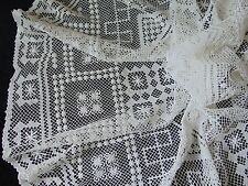 VINTAGE HAND MADE DARNED NET LACE FILET BURATO STYLE HUGE ROUND TABLECLOTH 150CM