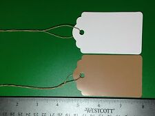 100 LARGE Scalloped KRAFT Print Paper Merchandise Gift Price Tags  String Retail