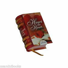 """New miniature book 1.4"""" H Heart to Heart hardcover bookmarker readable 229 pags"""