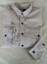 VINTAGE Polo Ralph Lauren Khaki Safari Lion Crown Button Up G.I. Shirt L Large