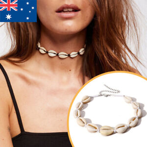 Adjustable Natural Cowrie Shell Sea Rope Choker Necklace Bracelet Set Beach NEW