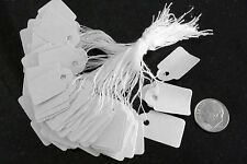 """100 White paper jewelry price tags write on label string attch 7/8"""" x 5/8"""" pt007"""