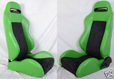 1 PAIR GREEN & BLACK RACING SEATS RECLINABLE ALL DODGE + SLIDERS