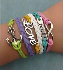 NEW Infinity Love Faith Anchor shaped wedding Cute Charm bracelet leather AW758