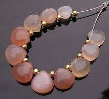 12 NATURAL GEMSTONE PEACH PINK MOONSTONE SMOOTH HEART BEADS 6-6.5 mm P25