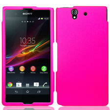 For Sony Xperia Z Rubberized Hard Snap On Protector Case Phone Cover Hot Pink
