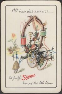 Playing Cards Single Card Old Vintage * SIMMS MOTOR CAR PARTS  Advertising Art F