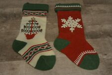Christmas Stockings Lot Set - Sweater Knit Material Christmas Tree and Snowflake