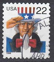 USA Briefmarke gestempelt 22c Uncle Sam aus MH Rundstempel Jahrgang 1998 / 1350