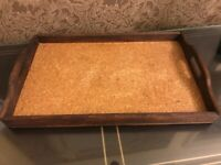 Antique 1800s Wood Serving Tray w/ Natural Cork Interior with Handles