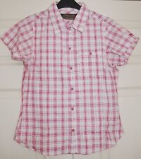 ** NEW 12 Regatta 'Jenna' Rose Pink Gingham Cotton Fitted Short Sleeve Shirt Top