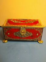 KLANN QUALITY WESTERN GERMANY TIN CHEST COIN BANK FOOTED