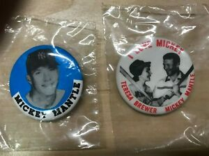 "MICKEY MANTLE  LOT (2)  PINBACK BUTTONS  ""I LOVE MICKEY""   MINT!!  TERESA BREWER"