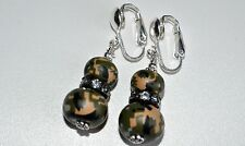 Woodland Marine Camo Camouflage Earrings 2 Beads Crystal CLIP ON Sterling Silver