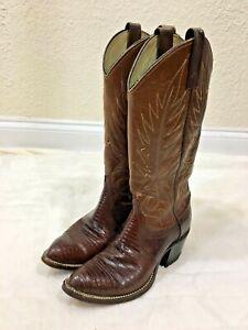 Vintage Dan Post Red Lizard Skin & Leather Ladies Cowboy Western Boots - Size 5