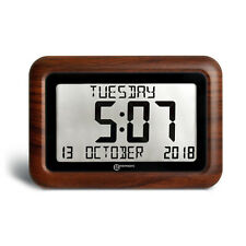 "Digital Clock With 8"" LCD Display and Woodgrain finish"
