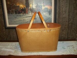 Vintage Red-Man Large Wicker Picnic Basket with Wood Lid and Wood Handles