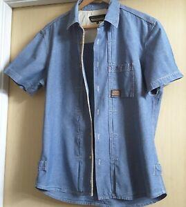 Men's Duck And Cover Short Sleeved Denim Shirt Size XL