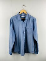 Trenery Men's Long Sleeve Casual Dress Button Up Shirt Size XL Blue