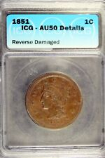 1851 - Icg Au50 Details (Reverse Damaged) Braided Hair Large Cent! #B18322