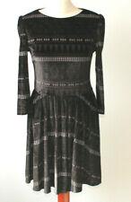 Topshop Black Velvet Skater Dress Multi Ethnic Aztec Print Ikat Goth Grunge 12