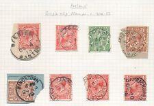 IRELAND KG5 POSTMARKS 8 stamps 1912-22 SINGLE RING TYPES