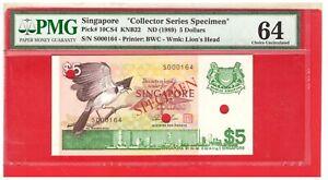 1989 Singapore Bird $5 Specimen Note S000164 Pick# 10CS4 KNB22 PMG 64
