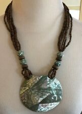 Large, Mother-of-Pearl Shell, Wood Bead Statement Necklace