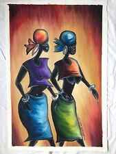 African original painting oil/acrylic listed artist signed folk tribal art woman