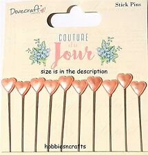 DOVECRAFT COUTURE DE JOUR STICK PINS - 10 PINS WITH HEARTS