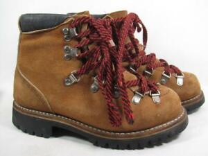 Vintage Mountaineering Hiking Boot Women size 5.5 Brown Suede Made In USA