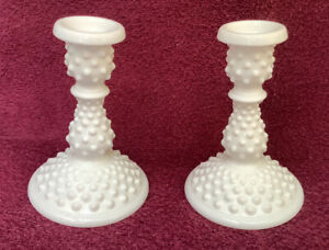 Pair Milk Glass Candlesticks Hobnail Candle Holders Vintage Unsigned