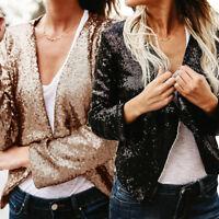 Women Sequin Blazer Coat Jacket Cropped Tops Open Cardigan OL Suits Long Sleeve