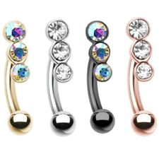"""THREE GEM ACCENT CURVED EYEBROW RING BARBELL BODY PIERCING JEWELRY (16g 5/16"""")"""