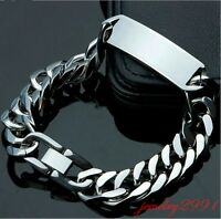 """8.66"""" High Polished Silver Stainless Steel Mens ID Link Bracelet Chain Heavy"""