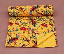 Indian Handmade Yellow Kantha Quilt Quilted Bird Print Bedspread Coverlet