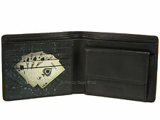 Visconti Da Poker APPLIQUE Mens Leather Wallet per cartoline, banconote monete & - Nero