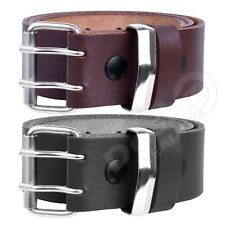 MENS LEATHER BELT Double Hole Black Brown 100% GENUINE 30'' to 64'' waist sizes